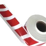 Barrier Tape (Parallelogram) Red On White 100Mm X 100Mtr
